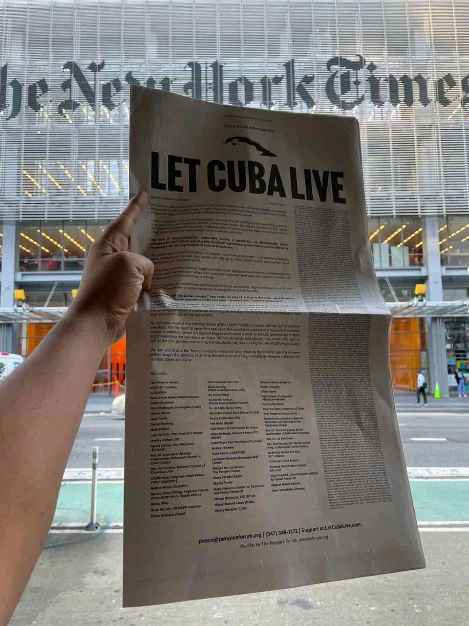 """""""Deja a Cuba vivir"""": La polémica portada de The New York Times por las sanciones de Estados Unidos a Cuba"""