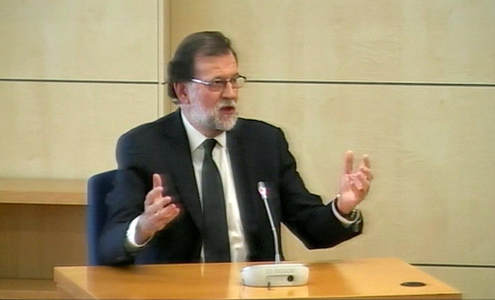 Mariano Rajoy, en la sede de la Audiencia Nacional donde prestó declaración como testigo en el juicio por la primera época de la trama Gürtel.