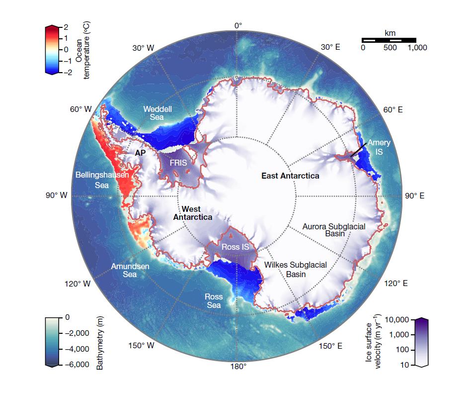 Simulación por ordenador del hielo de la Antártida cuyo objetivo es obtener la velocidad del hielo en cada punto del continente. Las velocidades vienen indicadas por una escala de color (abajo a la derecha) que varía entre diez metros al año (blanco) y diez kilómetros al año (violeta). Como cabría esperar, la simulación obtiene las velocidades más altas en las plataformas de Ross y Filchner-Ronne, que se mueven sobre el océano. También son notables las velocidades en la costa occidental, que es bastante escarpada y a lo largo de la cuenca que conduce a la plataforma de Amery, en la costa oriental. El mapa también muestra la temperatura del océano cerca de la costa (escala arriba a la izquierda) y la profundidad oceánica (escala abajo a la izquierda).
