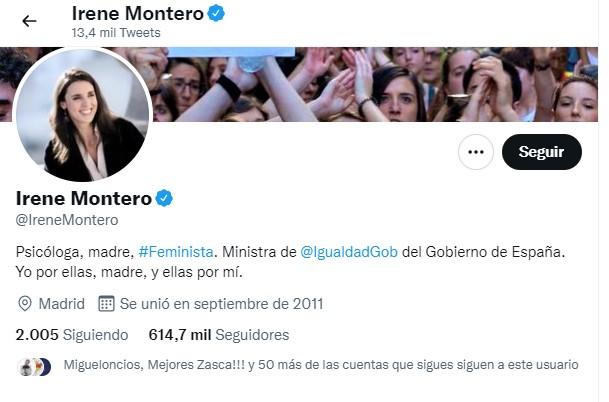 Perfil de Twitter de Irene Montero