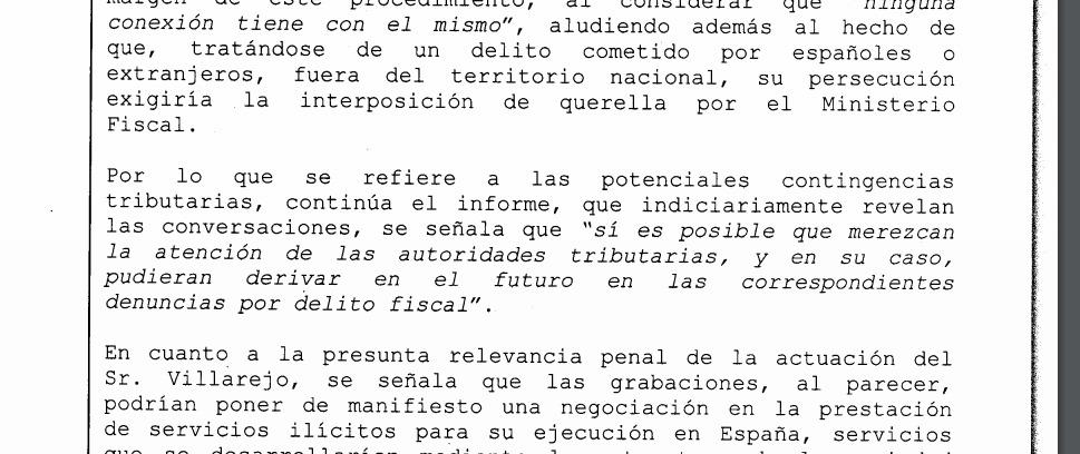 Extracto del auto de 27 de julio de 2020 en el que se aludía a la posibilidad de que Hacienda investigara las cuentas del Rey.