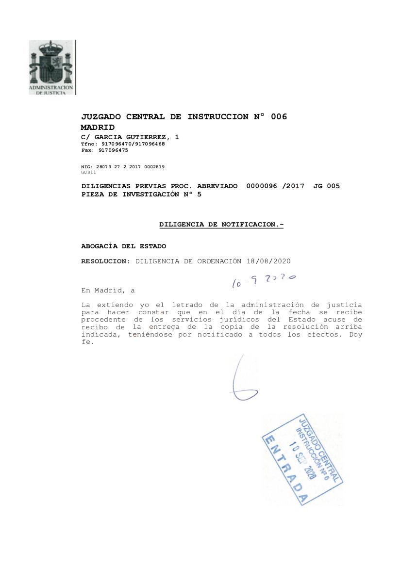 """Documento en el que se indica que la Abogacía del Estado recibió el auto de 27 de julio de 2020 en el que se aludía a las """"potenciales contingencias tributarias"""" del emérito"""