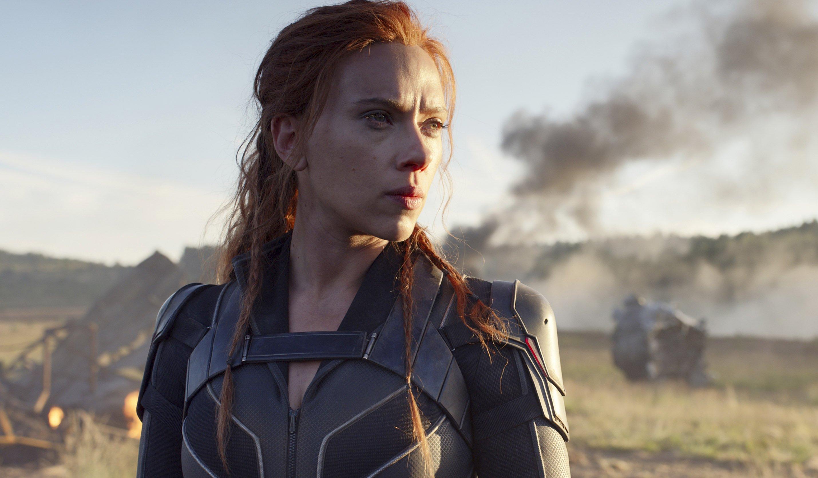 "Scarlett Johansson en una escena de ""Viuda Negra"". (Marvel Studios/Disney via AP)"
