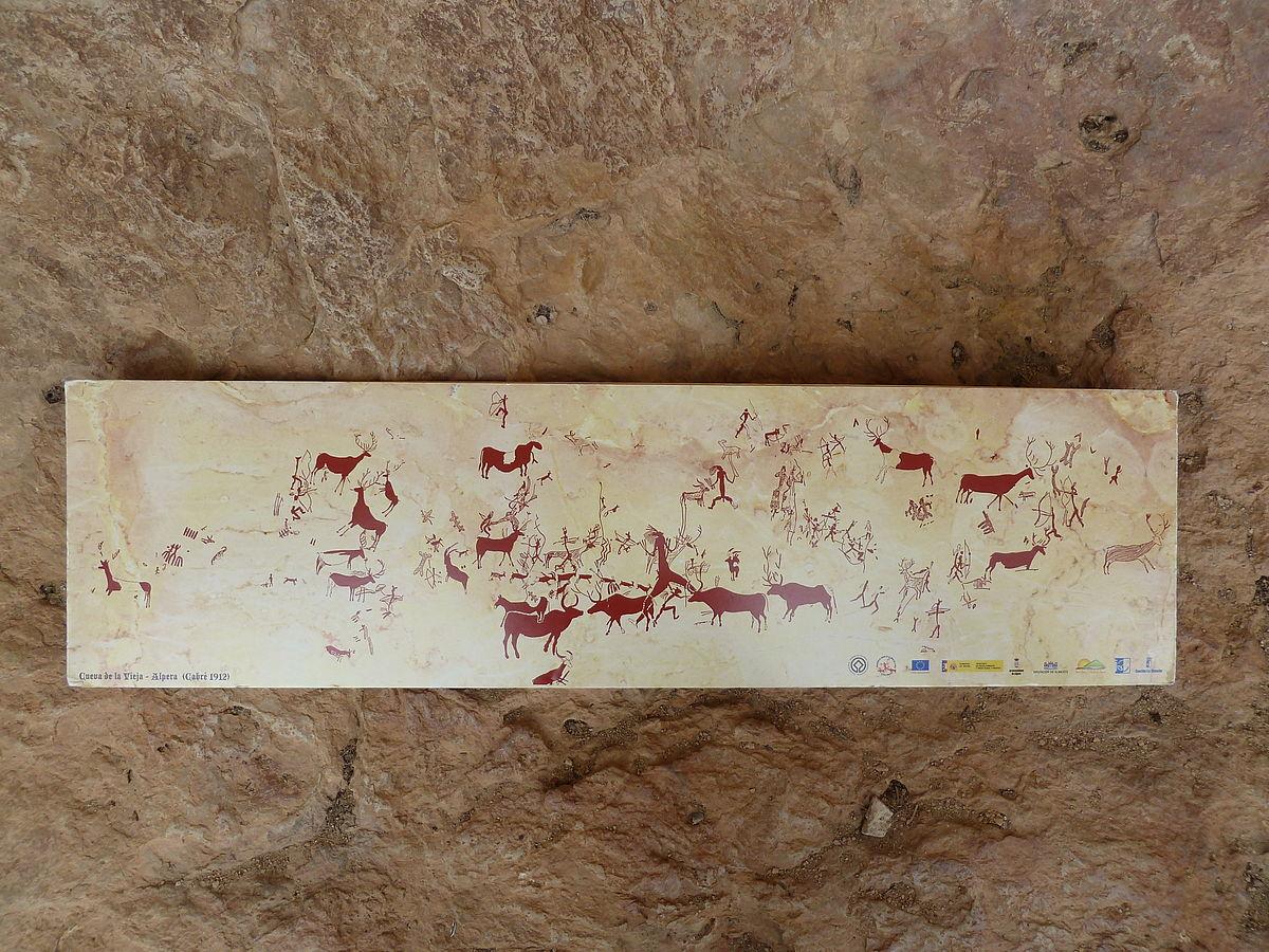 Copia de las pinturas de la Cueva de la Vieja.