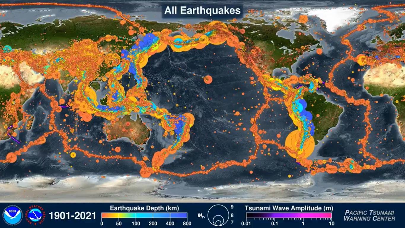 El impresionante vídeo que muestra todos los terremotos y tsunamis de los últimos 120 años