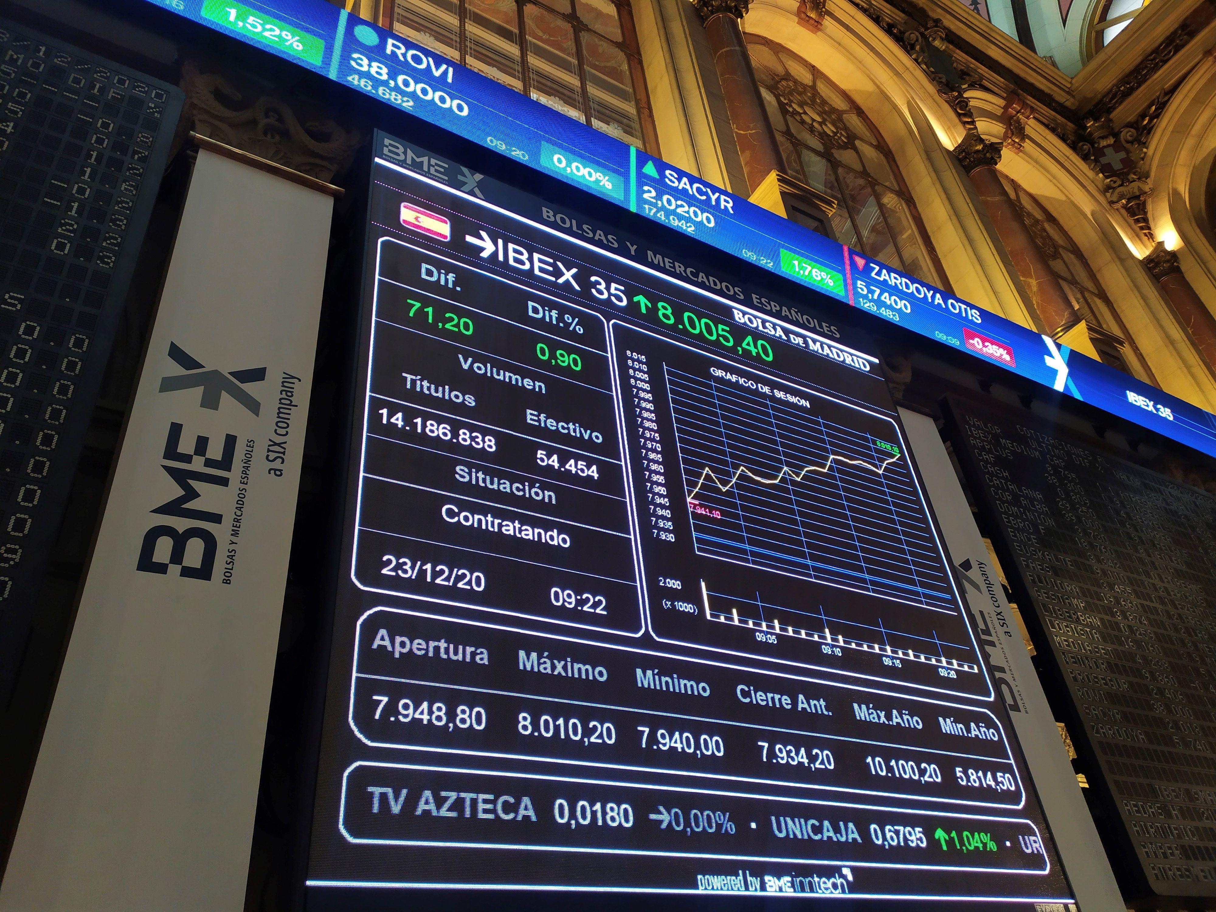Una pantalla muestra la evolución del IBEX 35 tras la apertura de la sesión este miércoles en el parqué madrileño