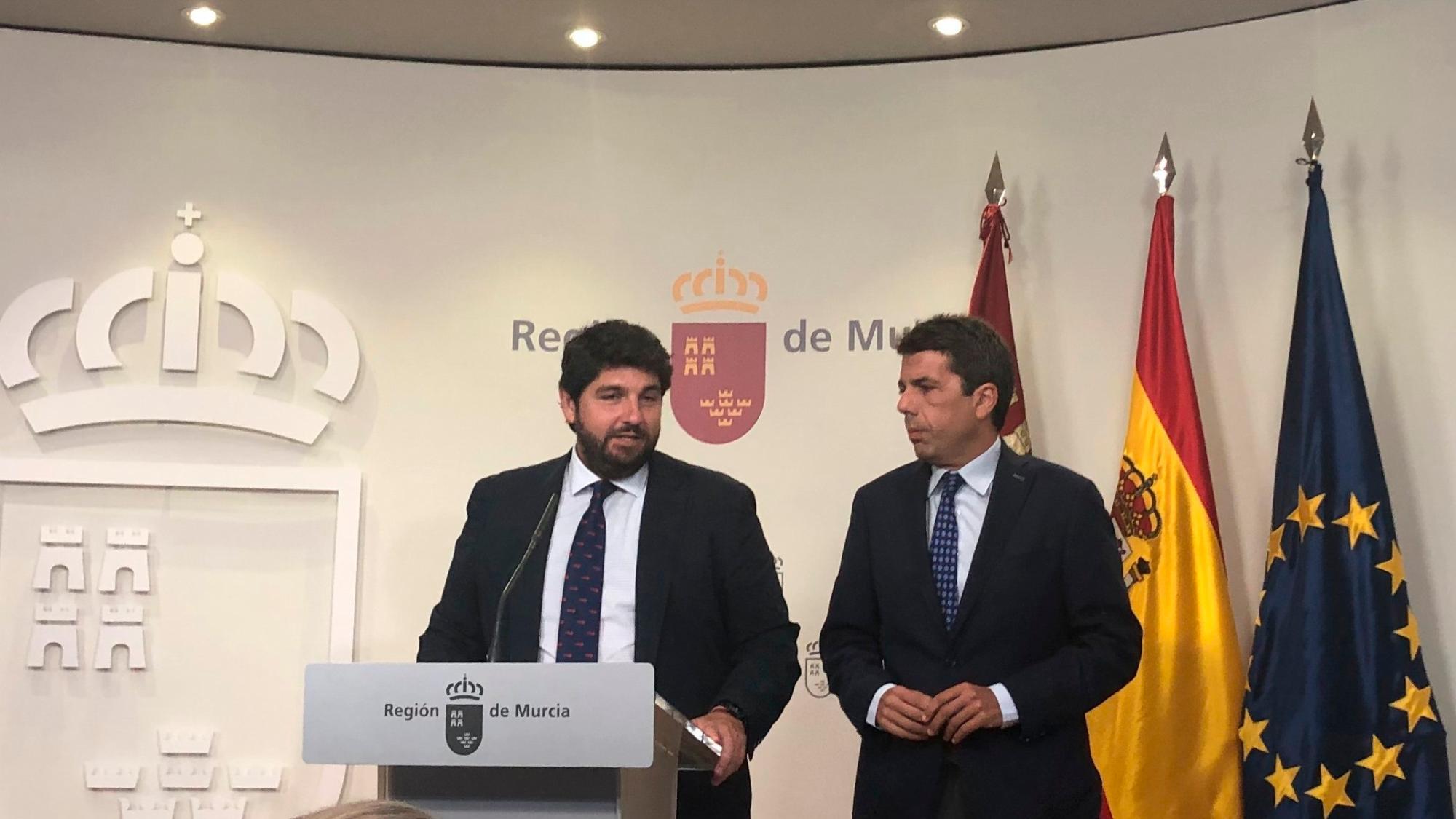 Frente común entre Mazón y López Miras para defender el trasvase Tajo-Segura