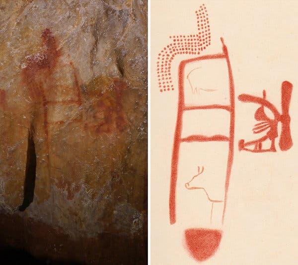 Pintura hallada en la cueva de La Pasiega (Cantabria) que algunos expertos atribuyen a los neandertales.