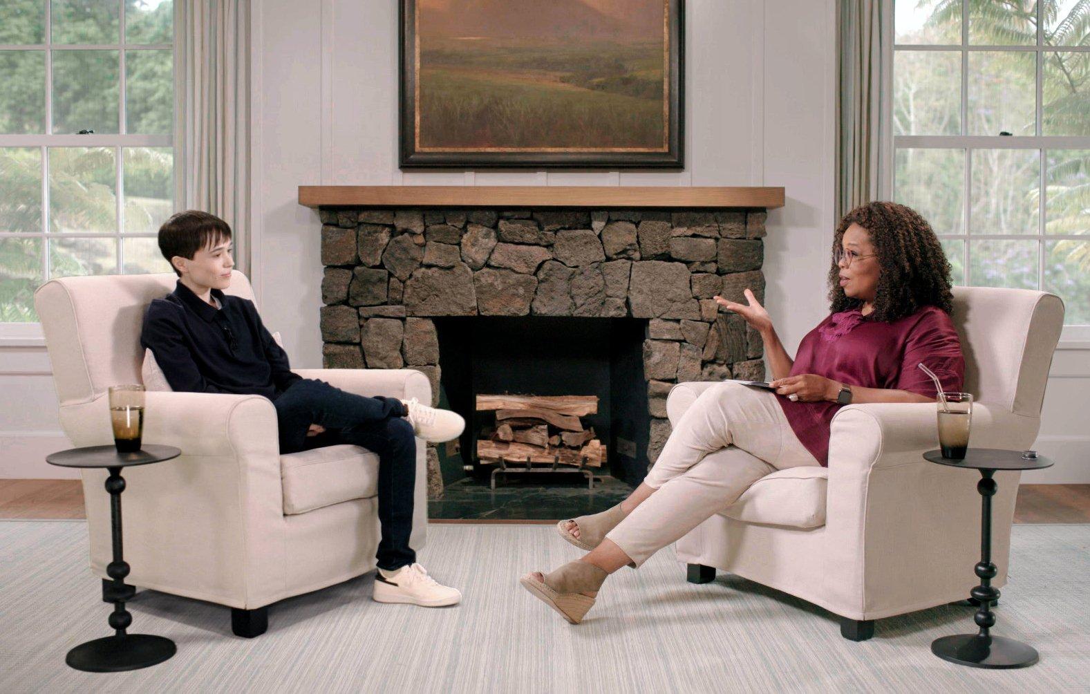 Elliot Page en su entrevista con Oprah Winfrey.