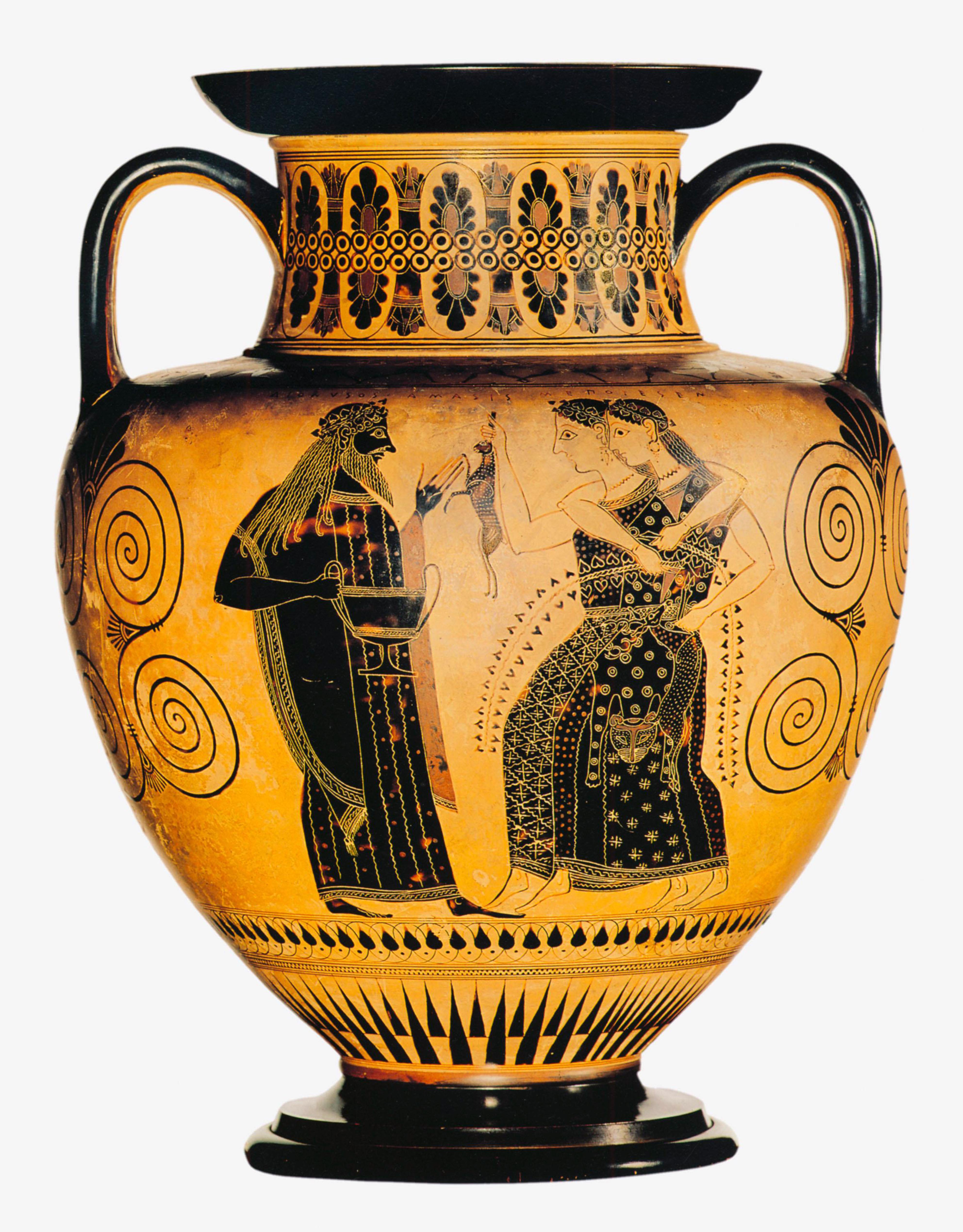 Ánfora griega en la que se representa al dios Dioniso con dos ménades.
