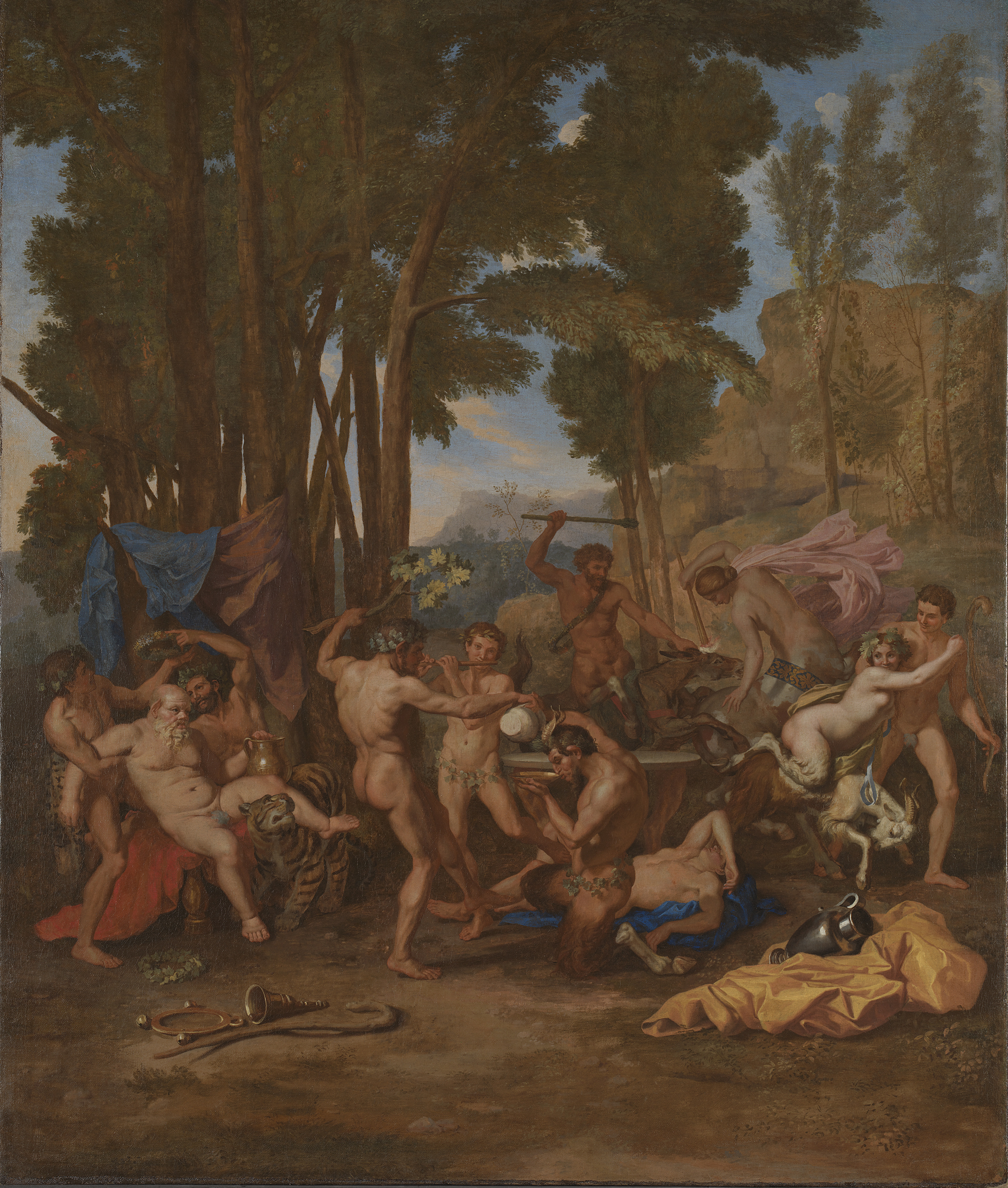 'The Triumph of Silenus', canvas measuring 142.9 by 120.5 centimeters, by Nicolas Poussin, made around 1636.