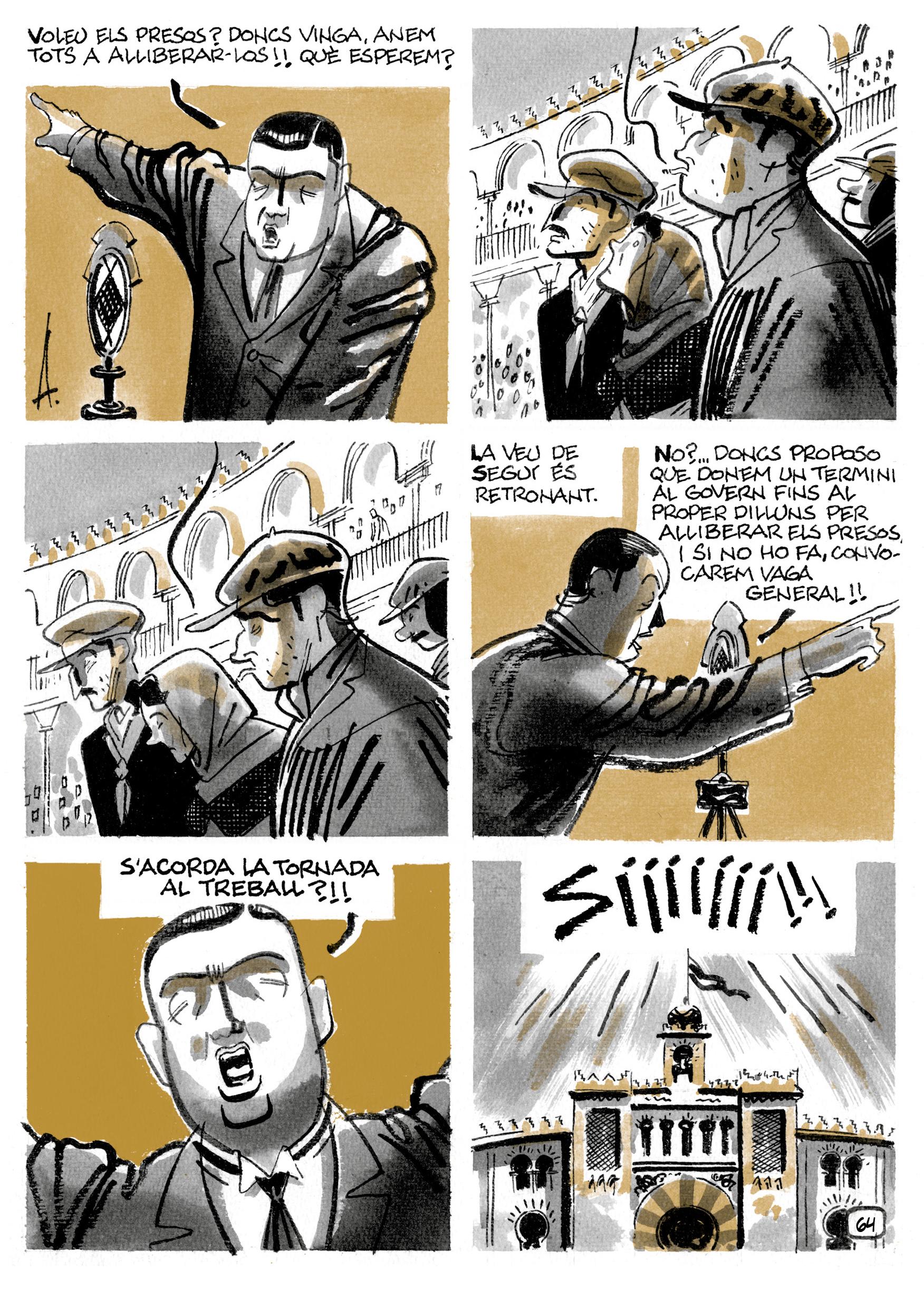 """Una página del cómic """"8 hores"""", del guionista Pepe Gálvez y el dibujante Alfons López, sobre la vida de Salvador Seguí."""