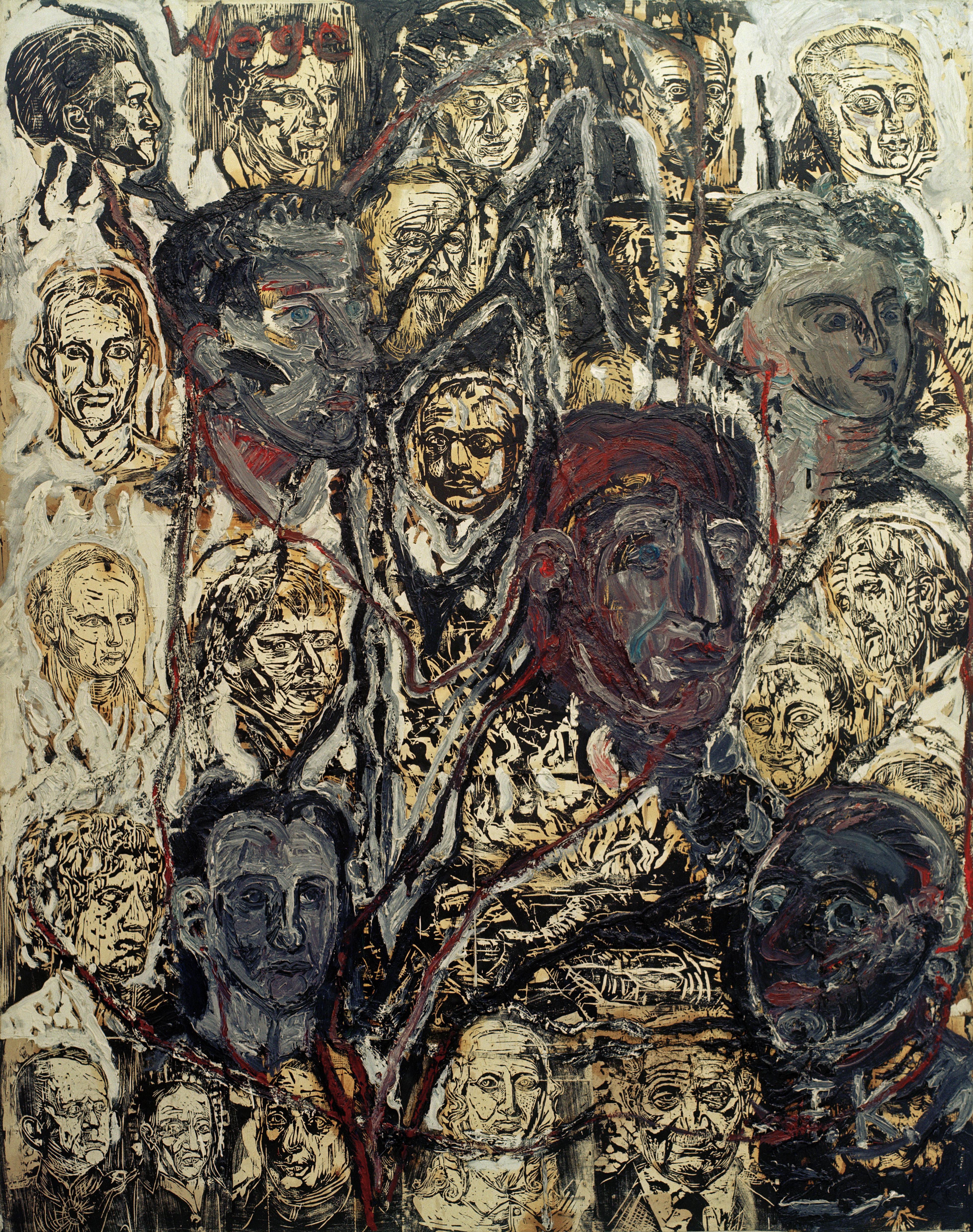 Wege II, obra de Anselm Kiefer sobre el idealismo alemán. Hölderlin es el cuarto personaje por la izquierda en la parte inferior del cuadro.