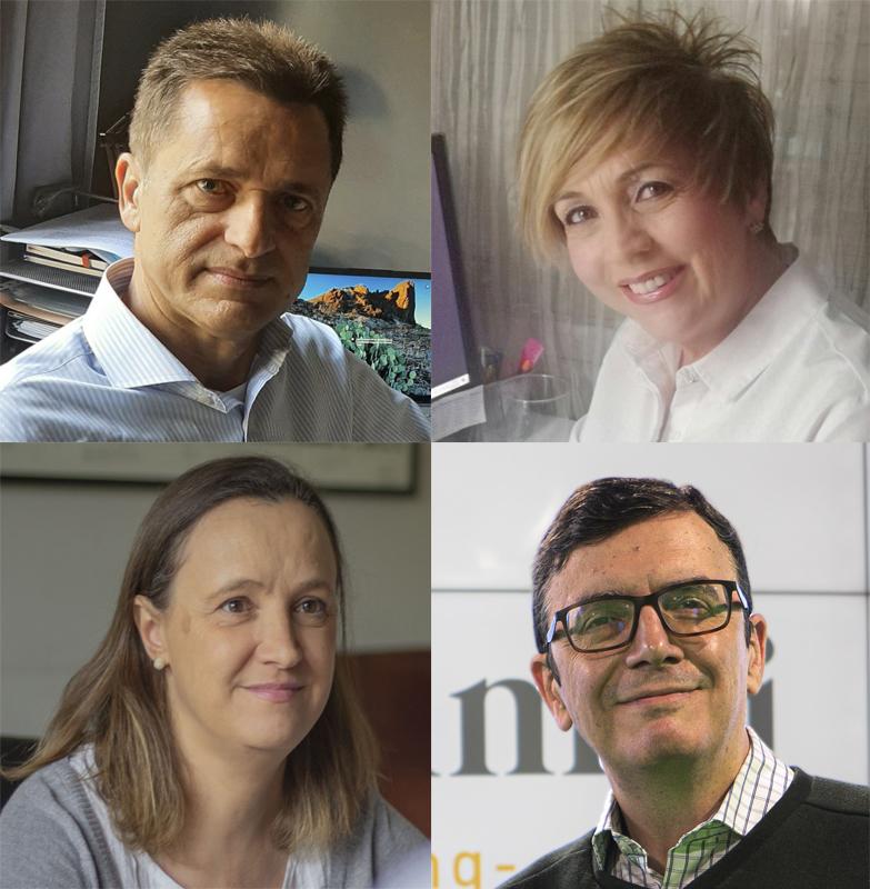 Desde arriba, Celestino González, Margarita Portillo, Carmen Morando y Benito Vera, exdirectivos de grandes corporaciones que crearon una empresa tras ser despedidos.
