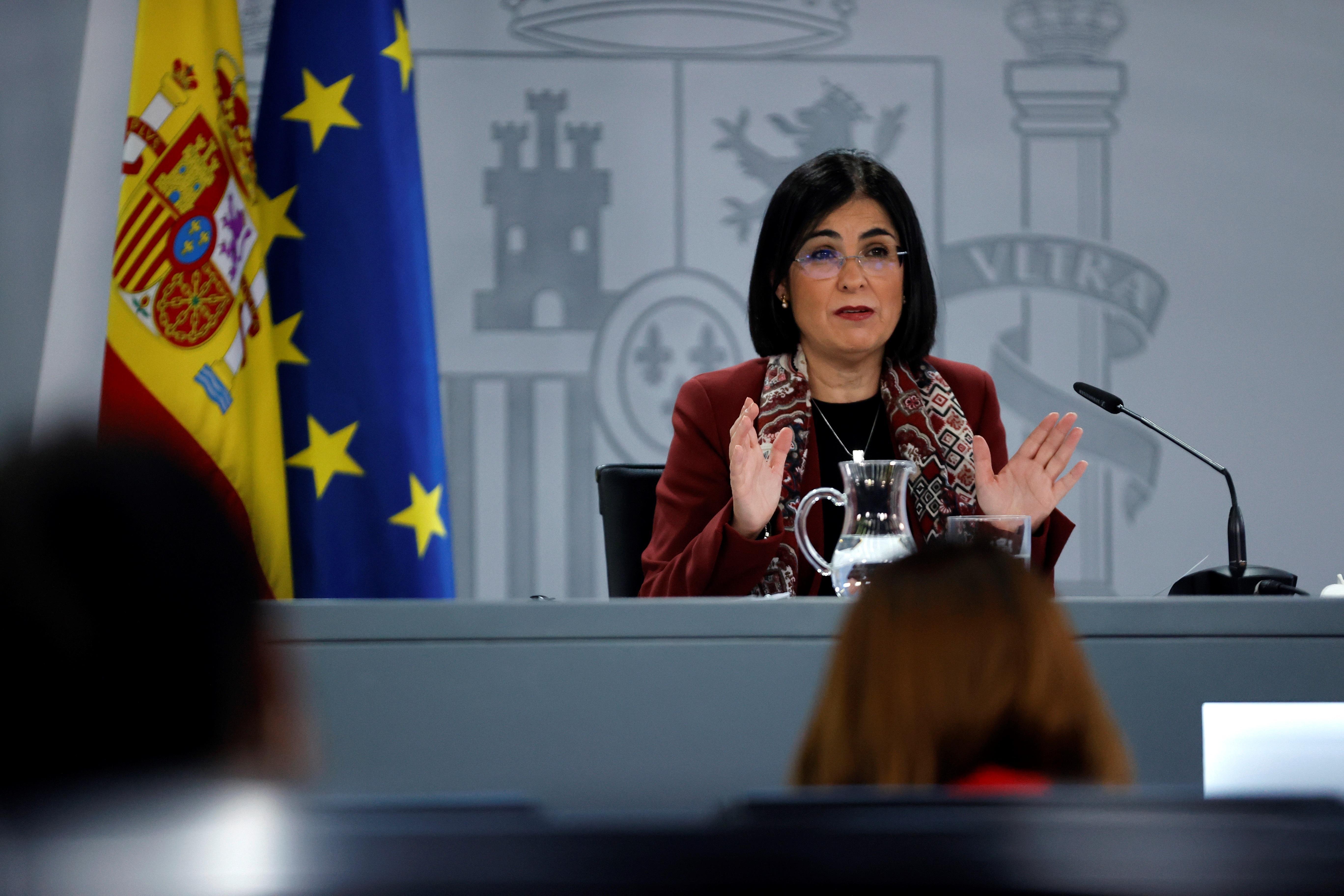 GRAF7789. MADRID, 03/03/2021.- La ministra de Sanidad, Carolina Darías, durante la rueda de prensa ofrecida este miércoles en Madrid tras su asistencia al Consejo Interterritorial de Salud. EFE/Zipi