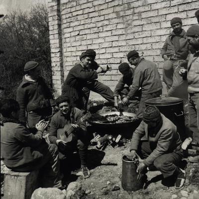 Milicianos de la Columna Ascaso, en Banastás (Huesca), en  1937.