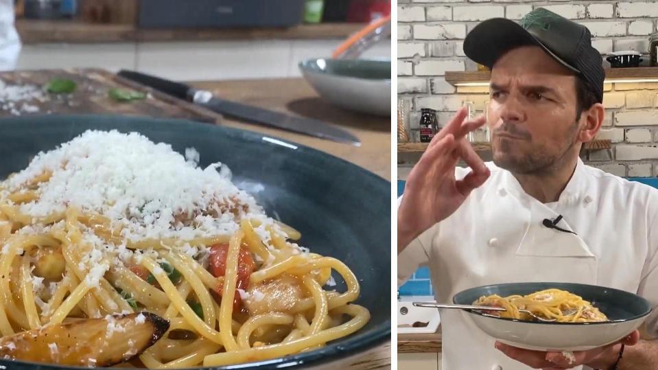 Rezept von Steffen Henssler: Schnelle Spargel-Spaghetti mit Kirschtomaten und Parmesan