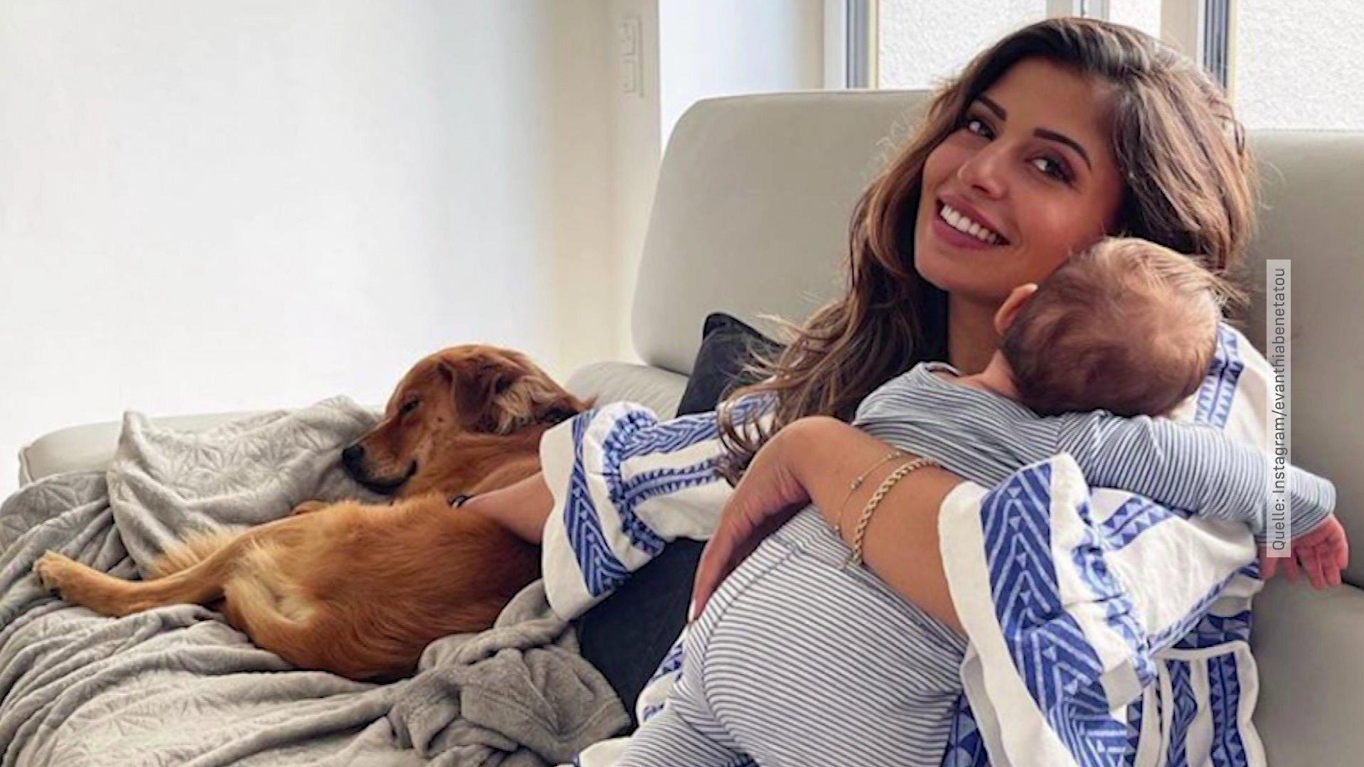 Neu-Mama-Eva-Benetatou-mit-Baby-berlastet-H-ndin-Sheikha-muss-zu-ihrem-Vater