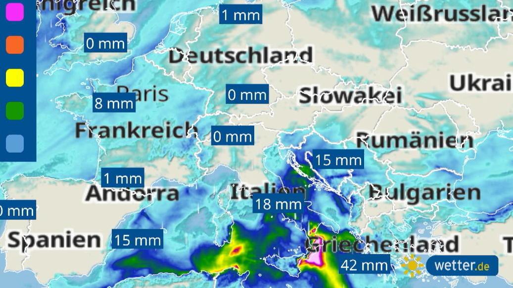 Unwetter am Mittelmeer: Von Italien bis Griechenland heftiger Regen, Sturmböen und Hagel