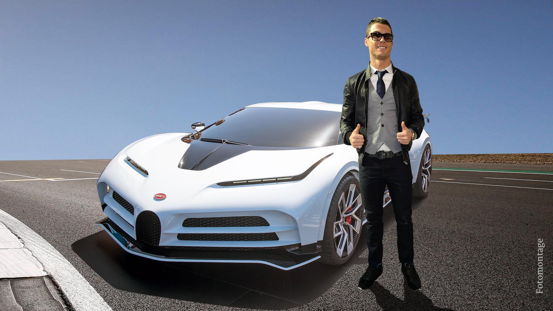"""Cristiano Ronaldo fährt mit dem Bugatti """"La Voiture Noire"""" das ..."""